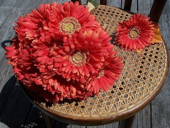 deep orange gerbera daisy bridal wedding bouquet ready to ship