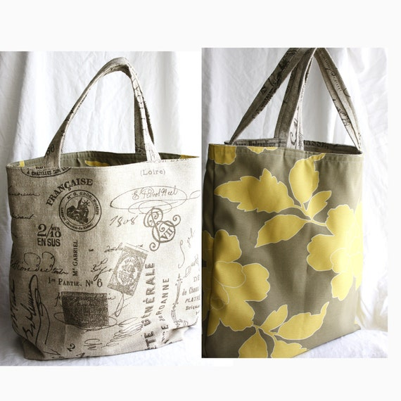 Extra Large Reversible market tote bag for groceries, books, shopping or gym. French country script with yellow & greige waterproof interior