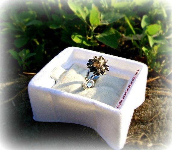 Chrysanthemum Herkimer Diamond, & Silver Rough Diamond Ring