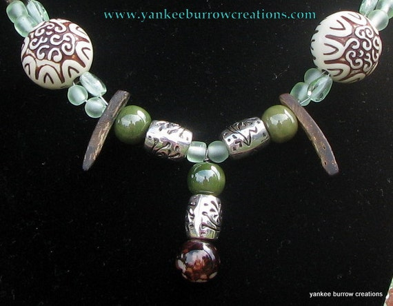 African beaded necklace, brown and green