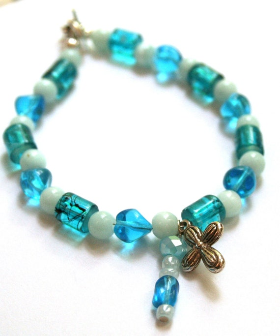 Beaded Bracelet with Cross- Blue Beads