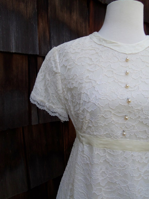 My Dearest Darling 1960s White Lace Wedding Dress with Pearl
