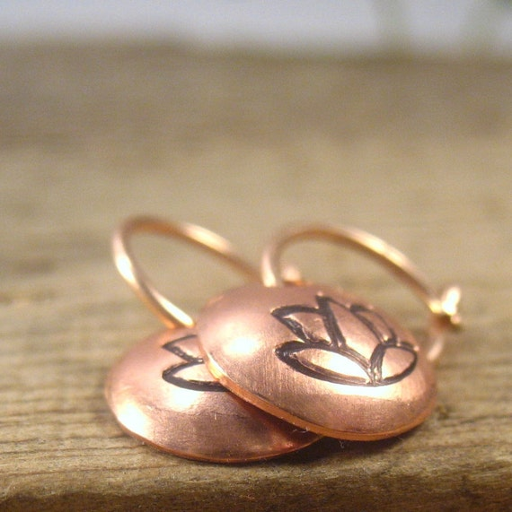 Little Hoop Earrings Lotus Dangles 14k Pink Gold by MysticMoons from etsy.com