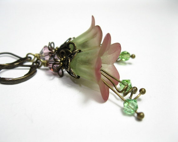 Wine, Green, Hand Dyed, Frosted, Lucite, Flower Earrings