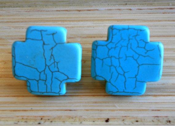 Turquoise Cross Studs