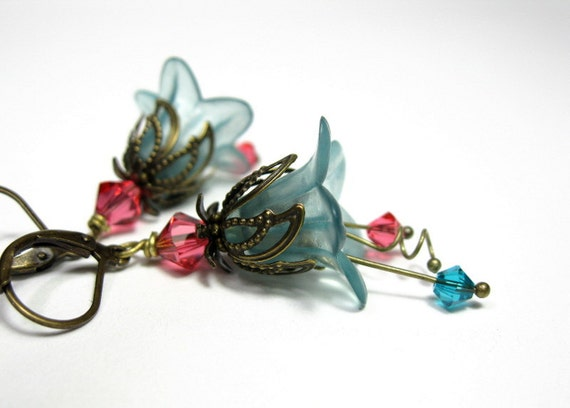 Cranberry, Aqua, Flower  Earrings