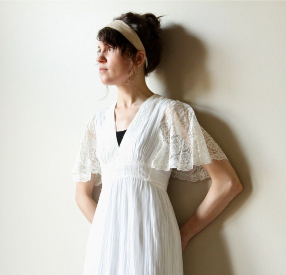 70s Boho Wedding Dress vintage hippie ivory off white cream cotton gauze