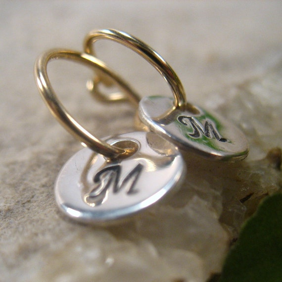 Little Hoop Earrings Initial Dangles 14k Gold by MysticMoons from etsy.com