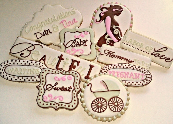 Congratulations On Your Pregnancy Decorated Vanilla Almond Sugar Cookies