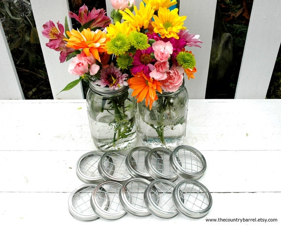 Mason Jar Flower Vases or Potpourri Filled Jars With Frog Lids - Set of 10
