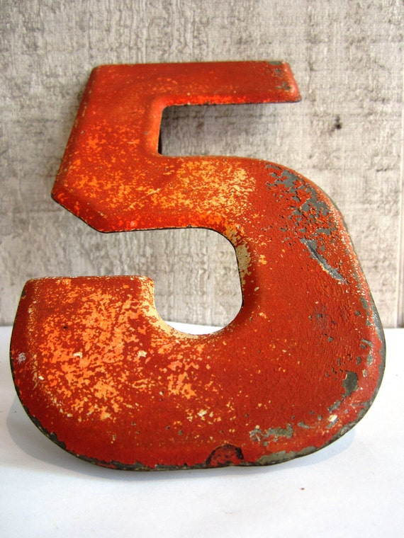 "Vintage Sign Number ""5"" Marquee Red Metal"