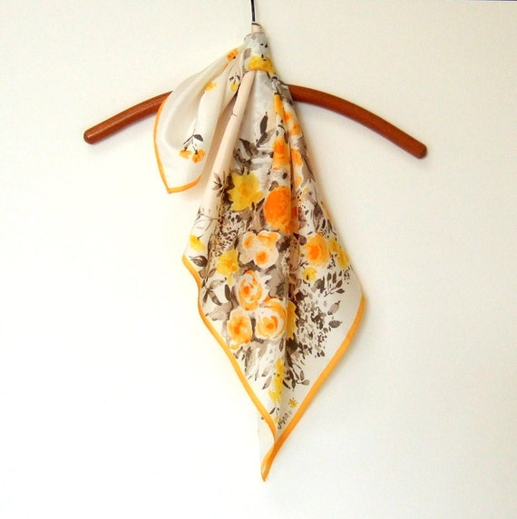 Vera Scarf Spring Fashion Orange Yellow Floral 1970s Ladybug Scarf
