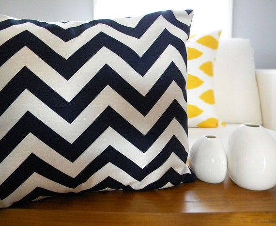 Navy Blue Lumbar Chevron Zig Zags Pillow Cover - 12x16 Lumbar - One Pillow Cover - Throw Pillow