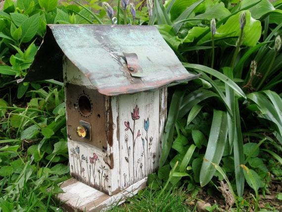 Shabby and chic wood burned with a touch of color birdhouse from up-cycled picket fence and old copper gutter