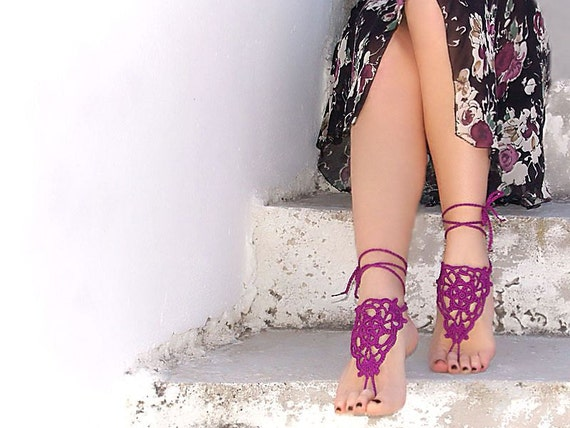 Purple Lilac Barefoot Sandals, Crochet Nude shoes,  Foot jewelry, Wedding, Victorian Lace, Sexy, Yoga, Bellydance, Steampunk, Beach Pool
