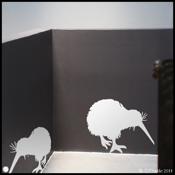 New ZEALAND : Two Kiwi birds eating - WALL DECAL for kids