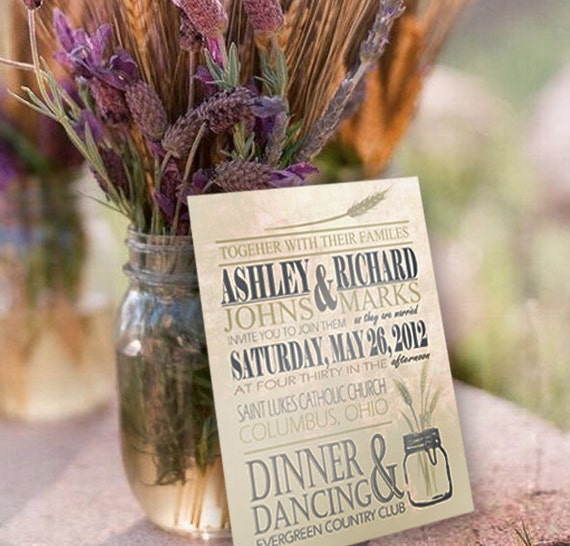 Mason Jar Wheat Wedding Invitation Blue Green
