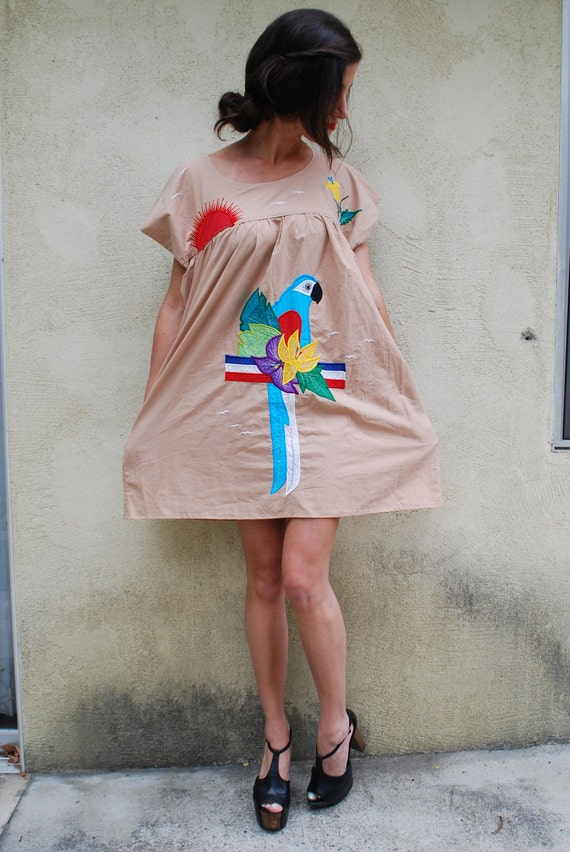 Vintage Technicolor Parrot Mexican Tent Dress (size small, medium, large)