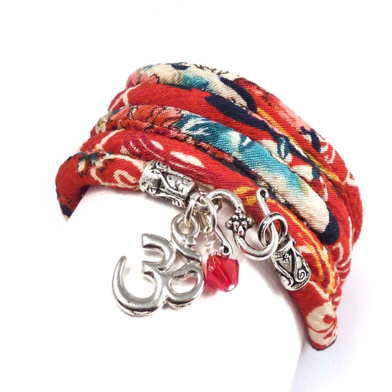 Wrap Bracelet with Japanese Chirimen Cord and Om Charm,yoga jewelry,wrapped, wrapping, wrap around,wrist wrap