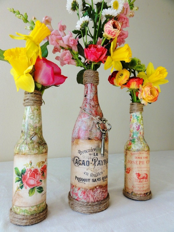 Josephine- Wedding Table Centerpiece-French Chic- Beautiful Vintage Bottle Vase with French Label and Key