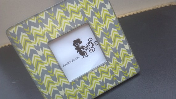 Picture Frame: Green & Gray Chevron