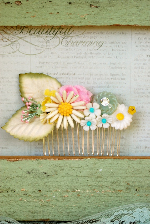 No ordinary day. happy flower bouquet collage hair comb. Tiedupmemories