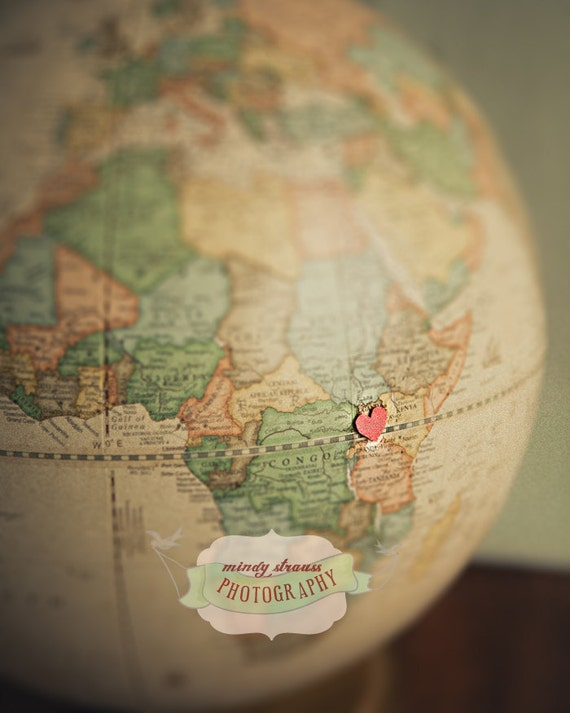 Uganda Adoption Love - Heart on Globe 8x10 Photo print