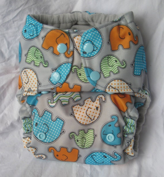 Elephant Walk Reusable One Size Cloth Pocket Snap Diaper