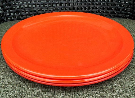 Vintage Orange Melmac Plates - Texasware Pair
