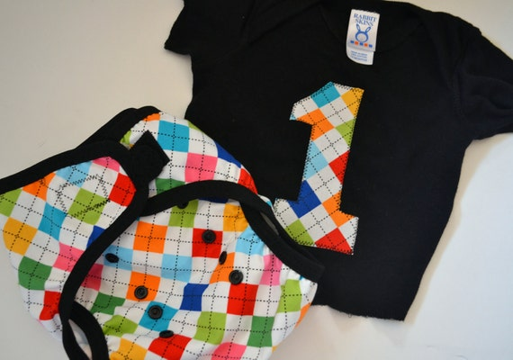 Baby's First Birthday -  Remix - matching tee and diaper cover set