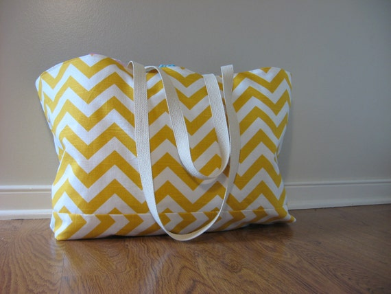 Extra Large Beach Tote, Beach Bag Chevron,  Yellow slub