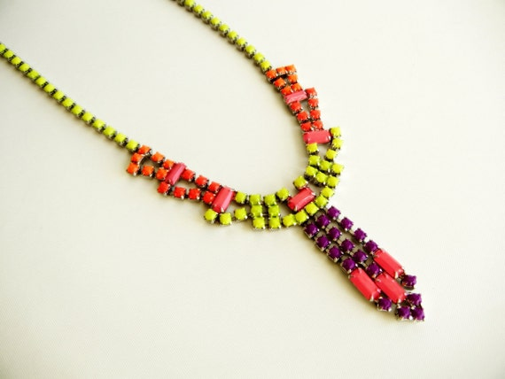 Vintage 1950s One Of A Kind Hand Painted Neon Rhinestone Necklace
