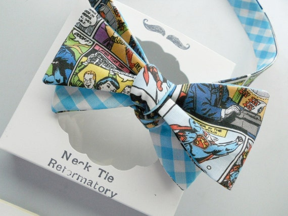 Superman Bowtie Two-Hand Stitched-Freestyle-Adjustable-Reversible