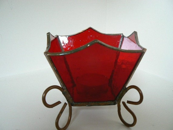 Votive, Stained Glass Red Transparent and Copper
