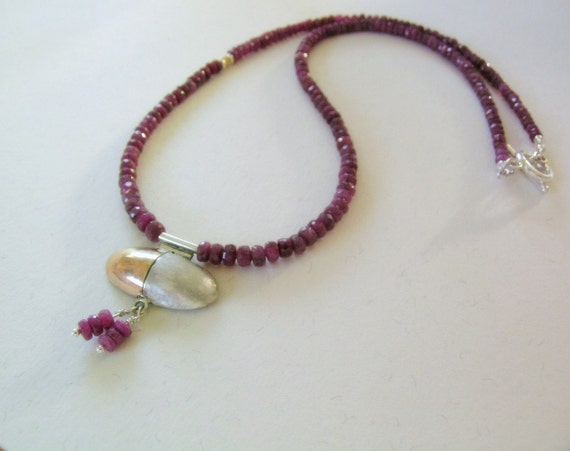 Ruby Necklace- silver and gold pendant