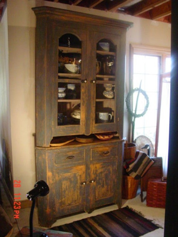 19th Century Blue Corner Cupboard  Two Pieces REDUCED