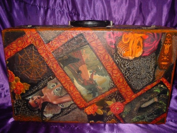 Vintage wood/leather Collage 1920's Witches Night Suitcase by recycled artist C. Reinke