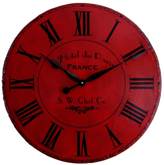 30 in Large Wall Clock Paris Hotel - Roman Round Antique Style Red Big Tuscan