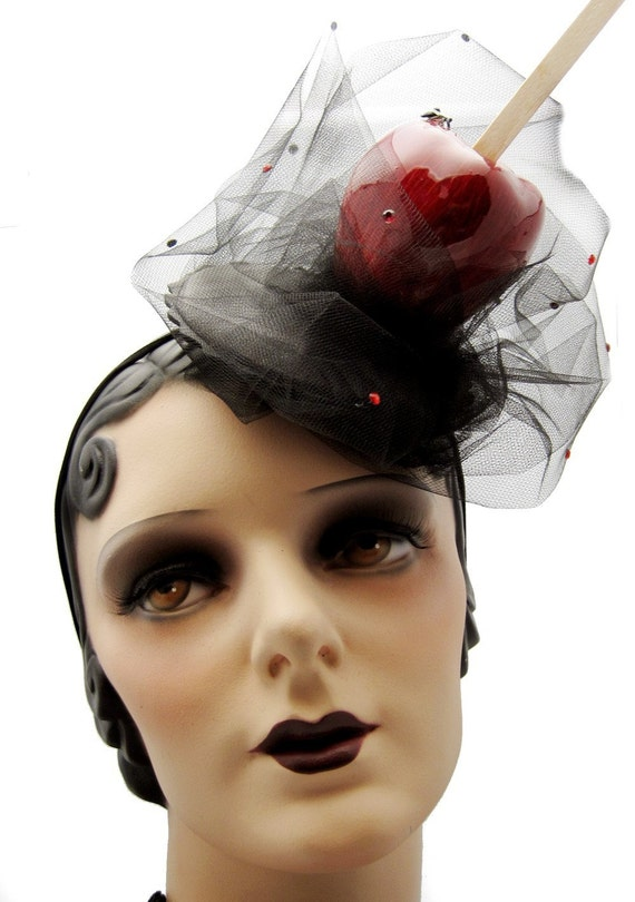 Candy Apple Cocktail Hat - Fascinator - Perfect for Halloween - READY to SHIP