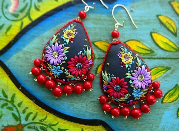 muy muy elegante - mexican embroidery teardrop earrings - reserved for cutty