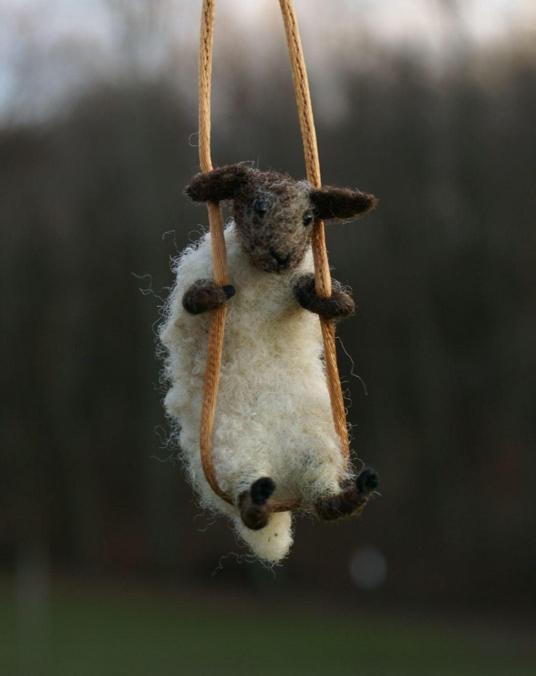 needle felted sheep necklace