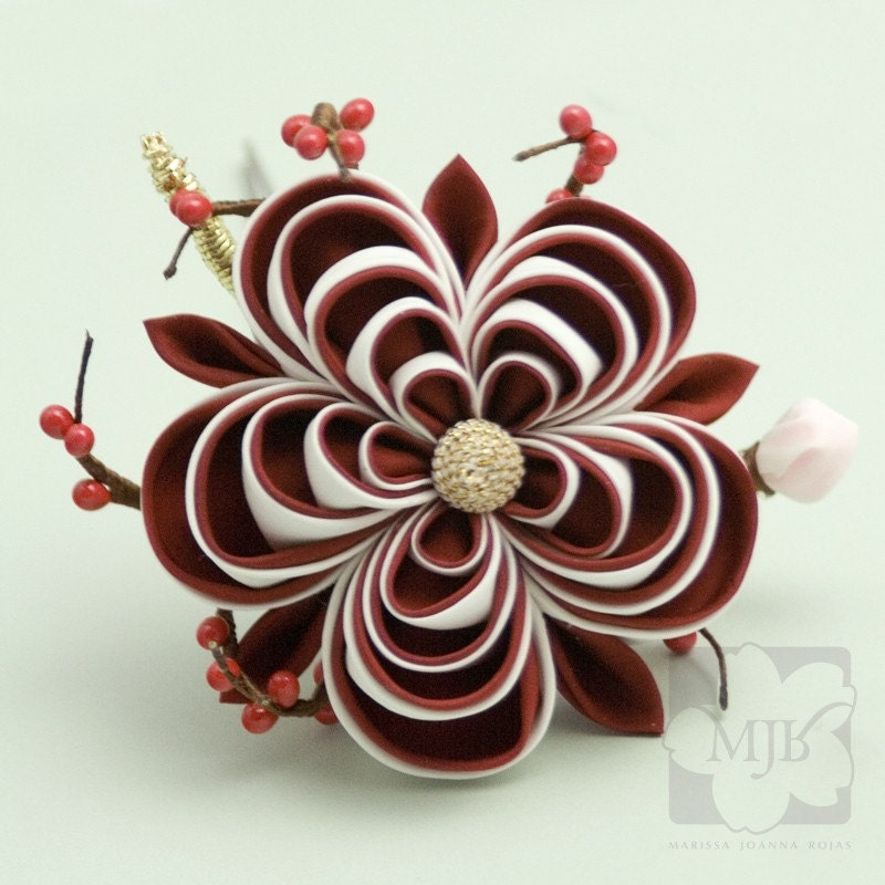 Red and White Ume Kanzashi Silk Flower Hairpin