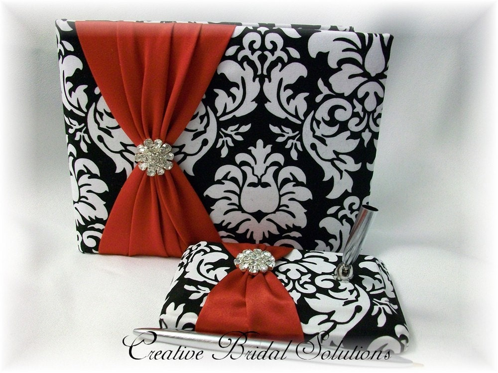 Black and White Damask with Red Wedding Guest Book and Pen Set