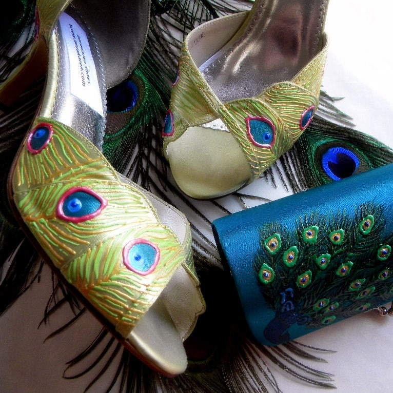 Bridal Shoes painted peacock feathers CHARTREUSE AND PINK From norakaren