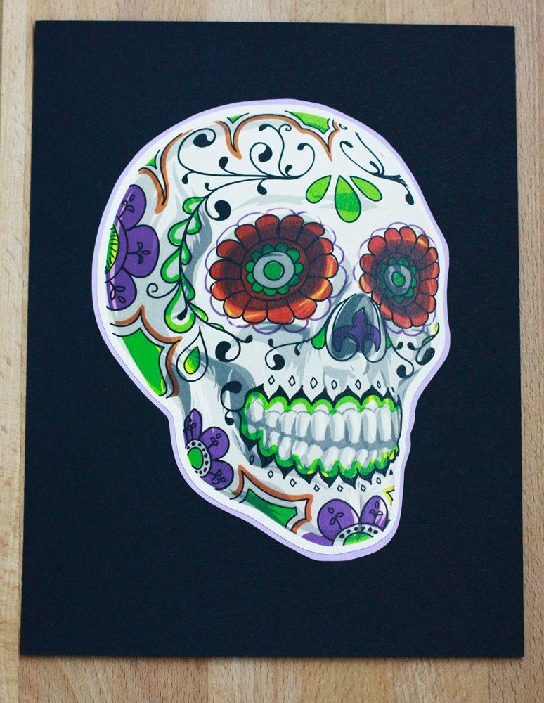 85 x 11 Sugar Skull Print on Purple and Black Cardstock