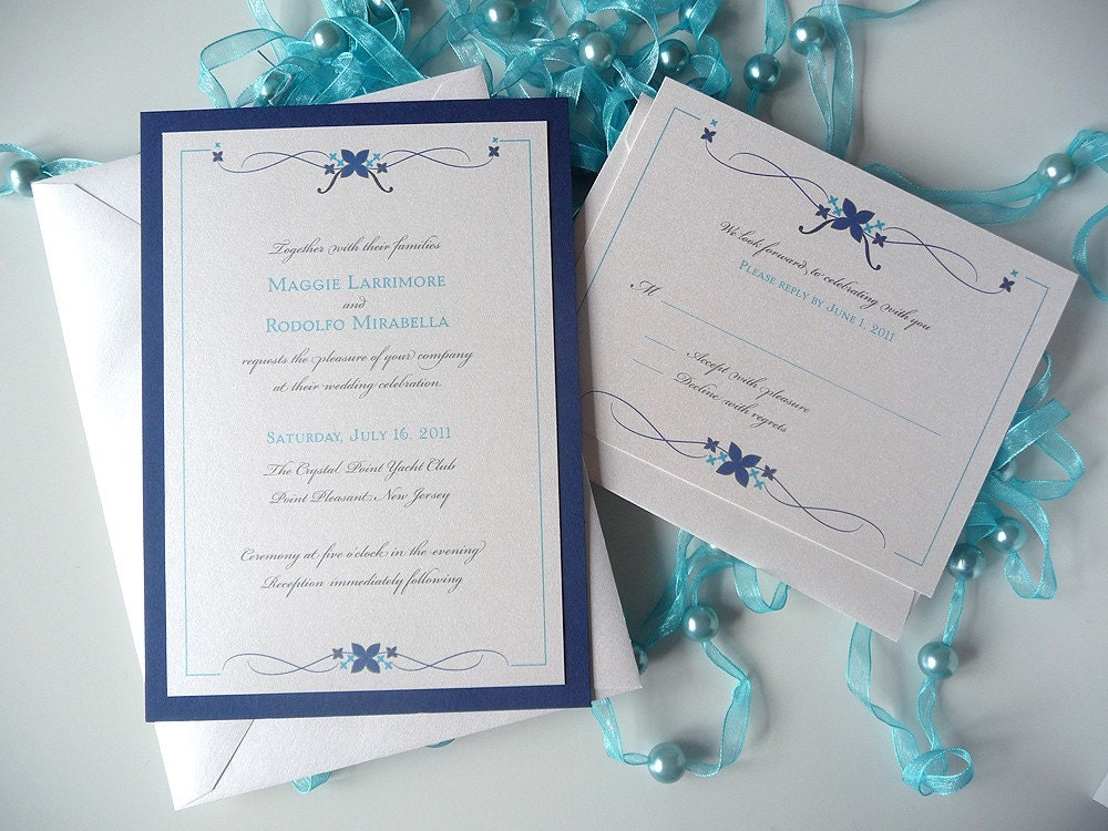 Simple Flourish Wedding Invitation From PrettyStationeryShop