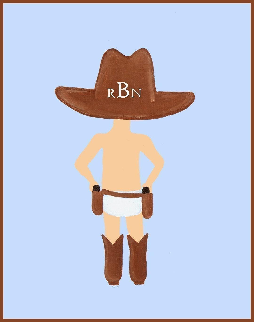 bogo sale   11x14 art print   little cowboy   free personalization
