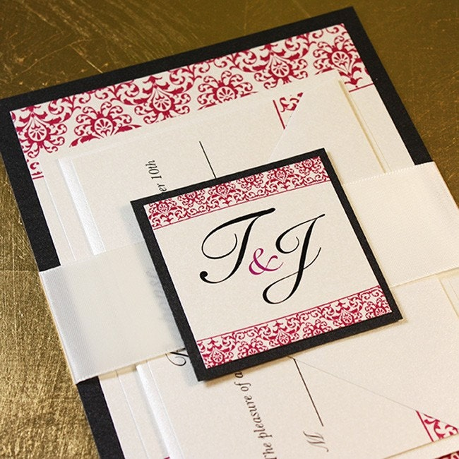 Monogram Wedding Invitation Sample Kit Red Black Jazzy Damask Wedding