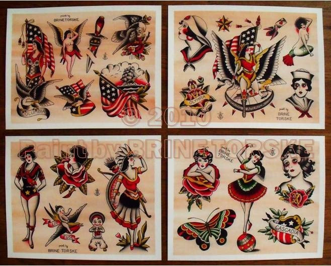 Traditional vintage tattoo designs from the first half of the last century