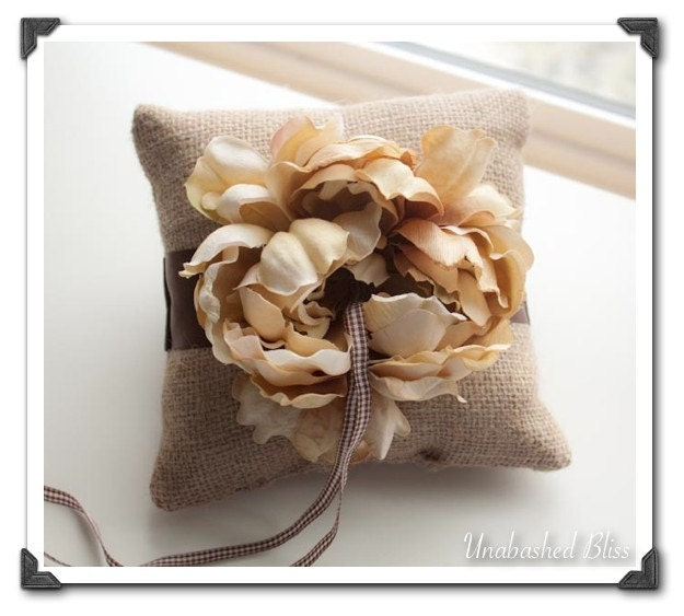 Rustic Wedding Burlap Chocolate Brown Taupe Ring Pillow
